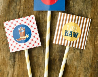 Gingham Cowboy PRINTABLE Cupcake Toppers by Love The Day
