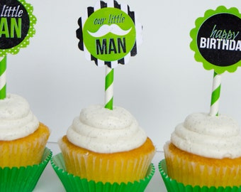 Little Man Party PRINTABLE Cupcake Toppers (INSTANT DOWNLOAD) by Love The Day