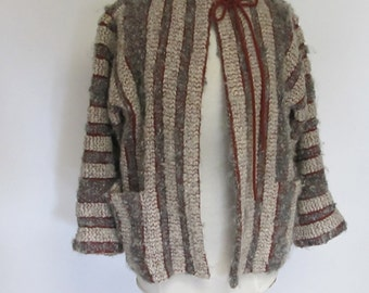 Missoni Mohair and Wool Striped Chevron Cardigan Sweater   Italian Designer Jacket Medium Large   80s Vintage