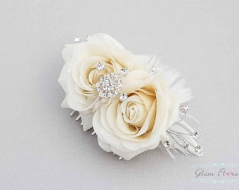 Bridal Hair Piece, ivory/ cream/ natural white rose flower hair comb, feathers, roses, rhinestones and crystals