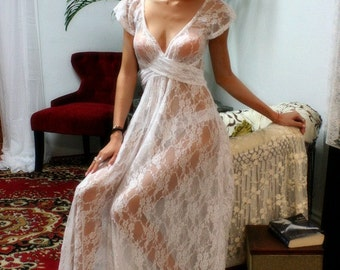 White Lace Bridal Nightgown Full Sweep Capelet Sleeve Wedding Lingerie Sleepwear