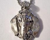 Elephant Head Necklace Pendant Silver Tone Vintage Rope Chain Head Dress Black Stone Eyes Large Loop