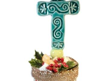 Baby Jesus Paper and Ceramic Cross Trinket Box