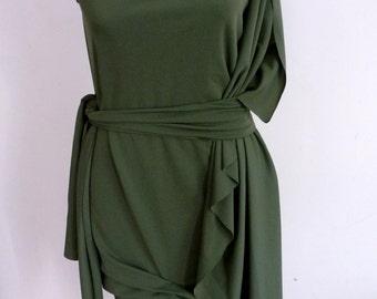 Olive Milliskin spandex faux wrap dress with attached belt