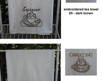Hand Embroidered Tea Towel Flour Sack Cotton Coffee Espresso Cafe Latte Vintage Retro Home Decor Kitchen Wedding Gift