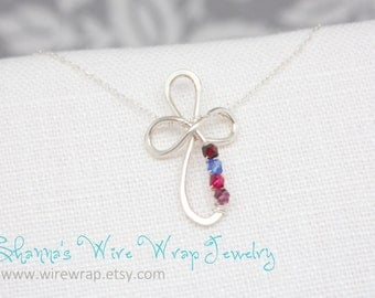 Cross Necklace with Birthstone Option, Mothers Necklace Option