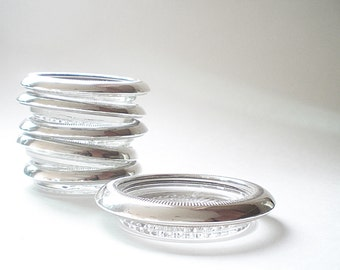 Mid Century Barware 4 Silver & Glass Coasters  Silverplate Drink Coaster Set Retro Home Decor