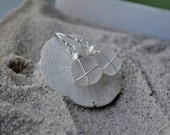 White Seaglass Earrings - Pearl Accented Seaglass Jewelry - Sterling Silver Earrings