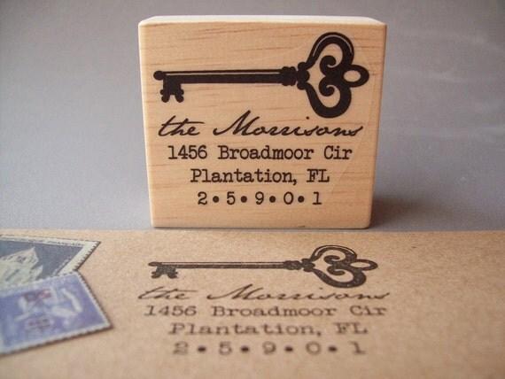 Return Address Stamp , Custom Personalized Skeleton Key Vintage Antique