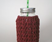 Maroon 32 Ounce Mason Jar cozy Crochet jar sleeve Canning Jar Cozy Koozie