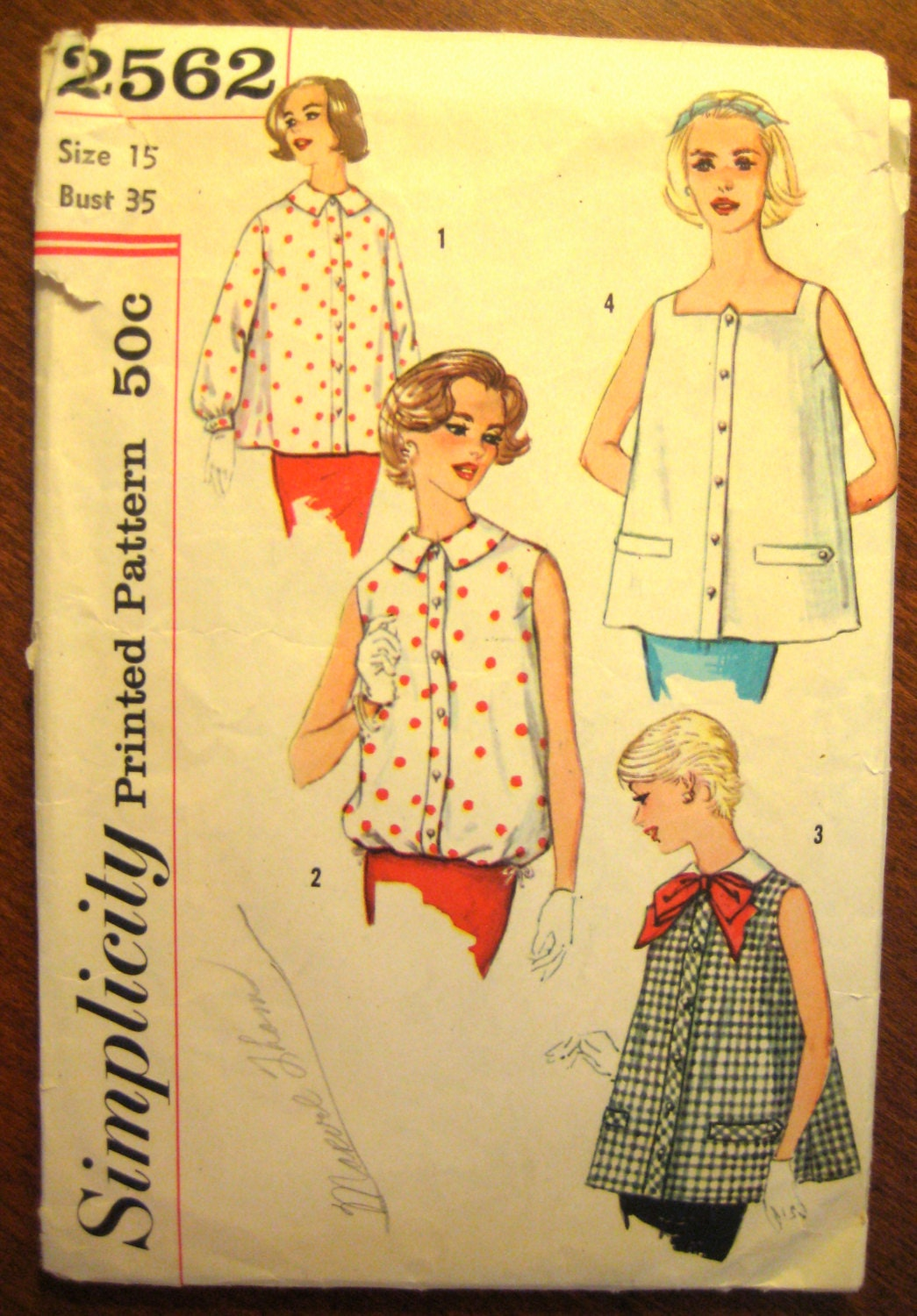 Vintage Sewing Pattern 1950s Maternity Blouse Peter