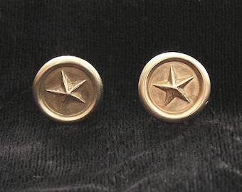 1800s Brass Star  Button Post Earrings