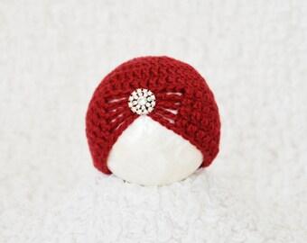 Newborn Christmas Hat, Baby Christmas Hat, Red Baby Hat, Newborn Photo Prop, Holiday Baby Hat, Crochet Baby Hat, Newborn Baby Beanie