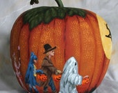 Trick or Treaters, witch, house, pumpkin gourd, hand painted, 7 inches tall, 6 1/2 inches diameter