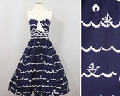 Vintage Sundress Nautical Full Skirt / Victor Costa Cotton Dress / Oceania