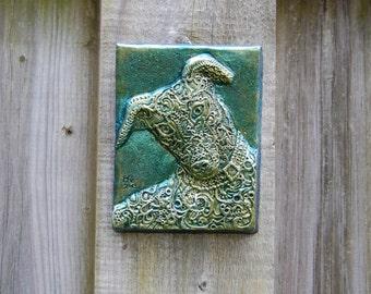 Grand in Green Greyhound Sculpture, Pet Decor, Dog Wall Plaque, Dog Stone Art, Pet Portrait