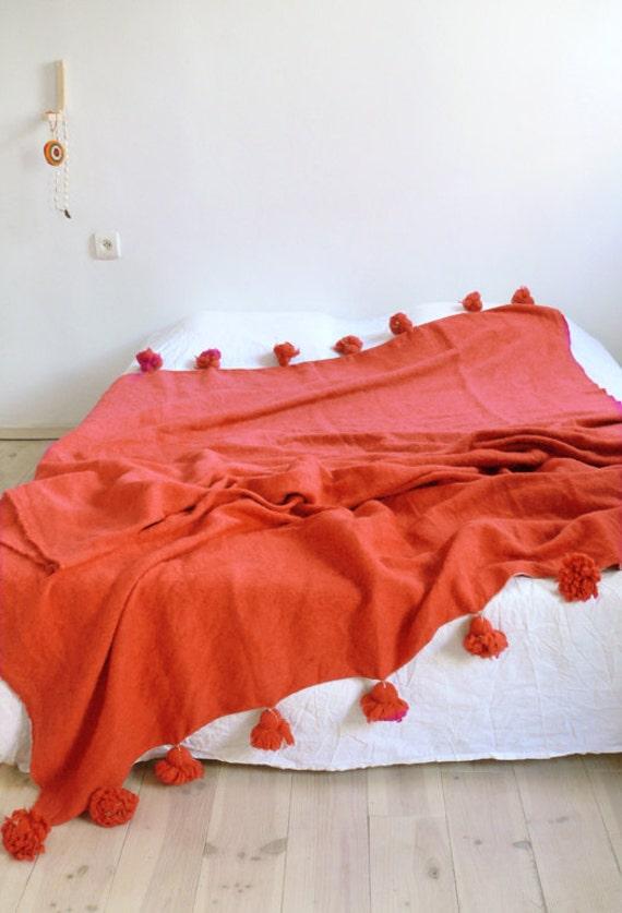 Large Moroccan Pom Pom Wool Blanket Orange