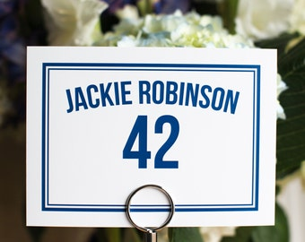 20 piece - Sports Theme 5x7 Wedding Table Names Numbers Customize Custom Simple Elegant with Border