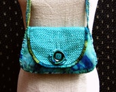 Up-cycled Tye-Dyed Purse with Silk Edging, Beading and Vintage Button, Over the Shoulder, Crocheted Strap