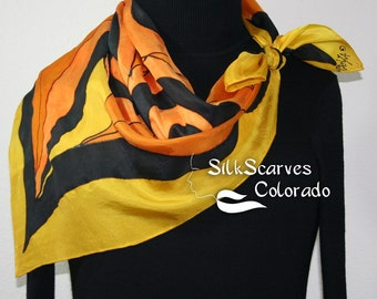 Hand Painted Silk Scarf. Orange Terracotta, Yellow, Black Handpainted Shawl TERRACOTTA RIDDLE Silk Scarves Colorado. Extra-Large 35x35square