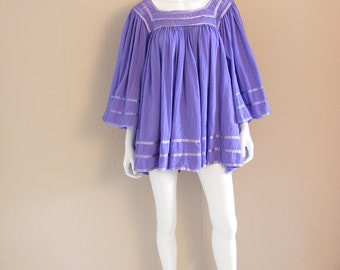Vintage lilac purple extra wide butterfly sleeve cotton blouse with crochet panels and ribbon trim. 1970s. S/ M/ L.