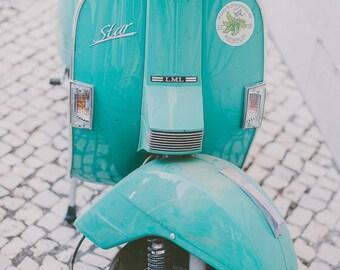 Mint Vespa, Vespa Photo, Vintage Style, Feminine, Pastel Decor, Retro Style, Aqua Green, Vespa Photography, Vintage Vespa, Star Scooter