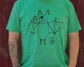 Pirate Bat Tee Shirt - Unisex Organic - heather green - S M L XL