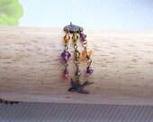 Brass Floral Chandelier Pendant Necklace, Dangling Swarovski Crystals, Bird, Pink, Orange, Amethyst, Brass, Wedding, Gift, Summer