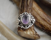 vintage faceted amethyst set in sterling silver ring size four and a half