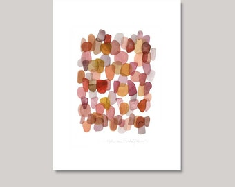 Abstract Watercolor Painting red autumn path pink coral orange modern painting abstract little painting 9 x 12