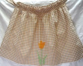 Gingham Hostess Apron - Tan with Tulip Cross Stitch Embroidery and Smocking  - Circa 1950s