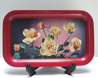 Shabby Metal Serving Tray - Roses - 1960s - Chippy