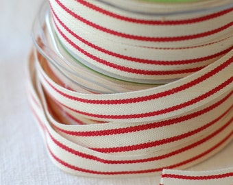 """30 Yard Spool of Ribbon - French Stripe RED & CREAM - Natural Cotton, 5/8"""" wide"""