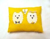 Owl ring bearer pillow/Yellow Bride And Groom Owl Ring Bearer Pillow