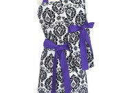 Mommy and Me Apron Set, aprons for Women Children toddlers, bridal shower gift,  Black and White Damask, Purple Ties, mother daughter aprons
