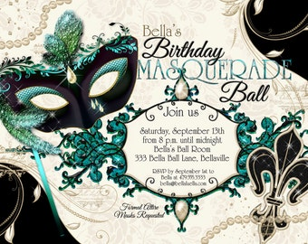 40th Birthday Masquerade Party Invitation Masquerade Invite