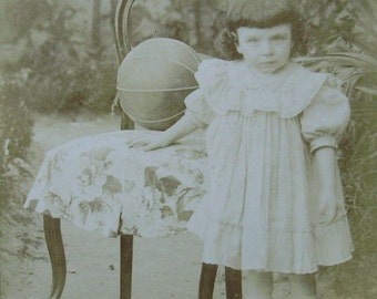 French Antique Child Photo  - Young Girl Outside