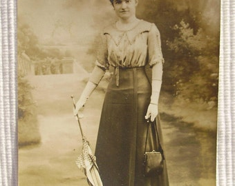Antique French Photo - Woman with a Parasol