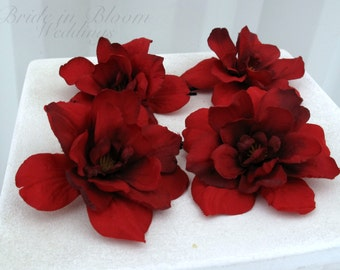 Wedding hair accessories - Red flower hair pin set of 4 - Bridal hair flowers bobby pins