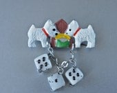 Art Deco Novelty Brooch found on Original Card Czech Lucky Dogs with Dangling Glass Dice Hand Painted 1 Brooch