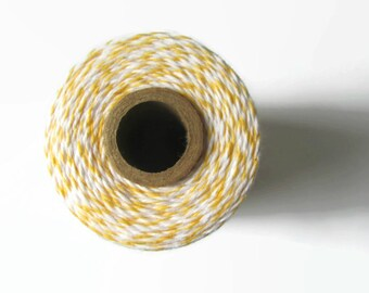 Bakers Twine - Lemon Yellow & White Striped - Divine Twine - Crafting - DIY Invitations - Packaging - Gift Wrap - 240 Yard Full Spool String
