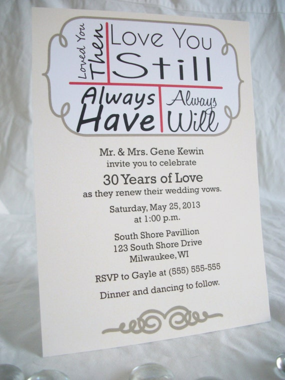 Love You StillVow Renewal Invitations Printed And Shipped