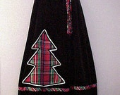 Vintage 70s Christmas Tree Maxi Skirt Taffeta Velveteen Medium