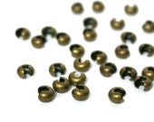 5mm Brass Crimp Bead Covers, Antiqued Gold Plated Knot Covers   (929FD)