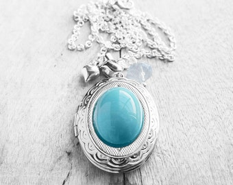 Get 15% OFF - Turquoise Oval Glass Cabochon Silver Oval Photo Locket Pendant Necklace - Mother's Day SALE 2017