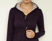 jersey hoodie - dark purple - flowers