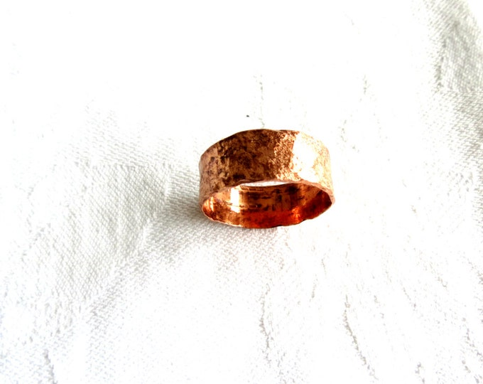Wide Copper Ring for Men, Unisex Ring, Wide Band Ring for Him, Gift for Him, Rustic Ring, Wedding Band, 9mm ring
