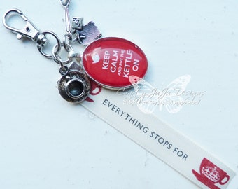 Keep Calm & Put The Kettle On Glass Tile Key Ring With Charms and Ribbon - Other Colours Available