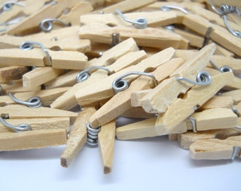 NATURAL Tiny Clothespins - 1 inch - Qty 50 - Wood Clothespin - Natural wood Clothespin
