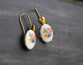 Petite Vintage Oval Flower Bouquet Earrings